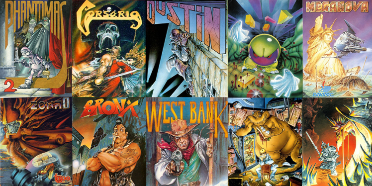 Phantomas 2, Corsario, Dustin, Mad Mix Game Meganova, Zona 0, Bronx, West Bank, Mot and Camelot Warriors covers by Azpiri