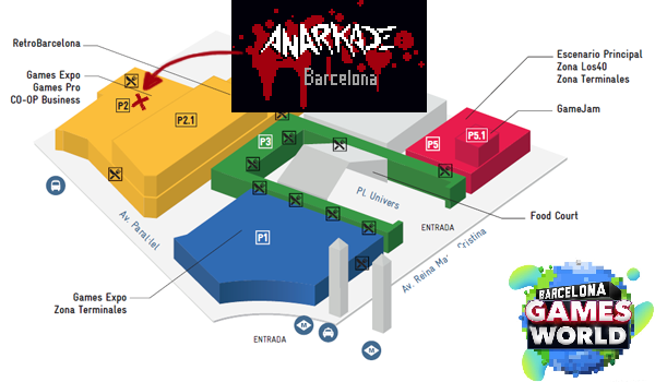 Location of our Anarkade stand at Barcelona Games World '17. P2, A146: in the Catalan Arts booth
